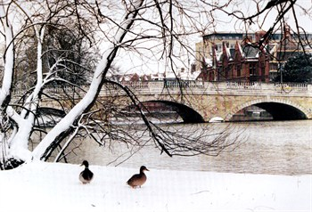 Bedford Town Bridge in the snow