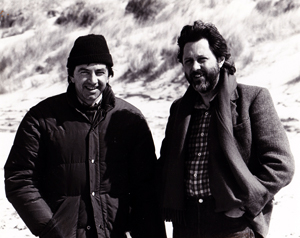 Director Bill Forsyth with producer David Puttnam on location for Local Hero