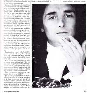 Page showing Anthony Higgins, from the Greenaway article in Chaplin magazine, Nov 1983