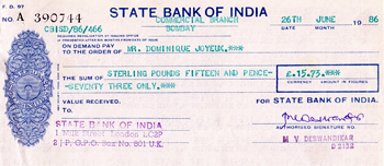 Indian Cheque - 1986